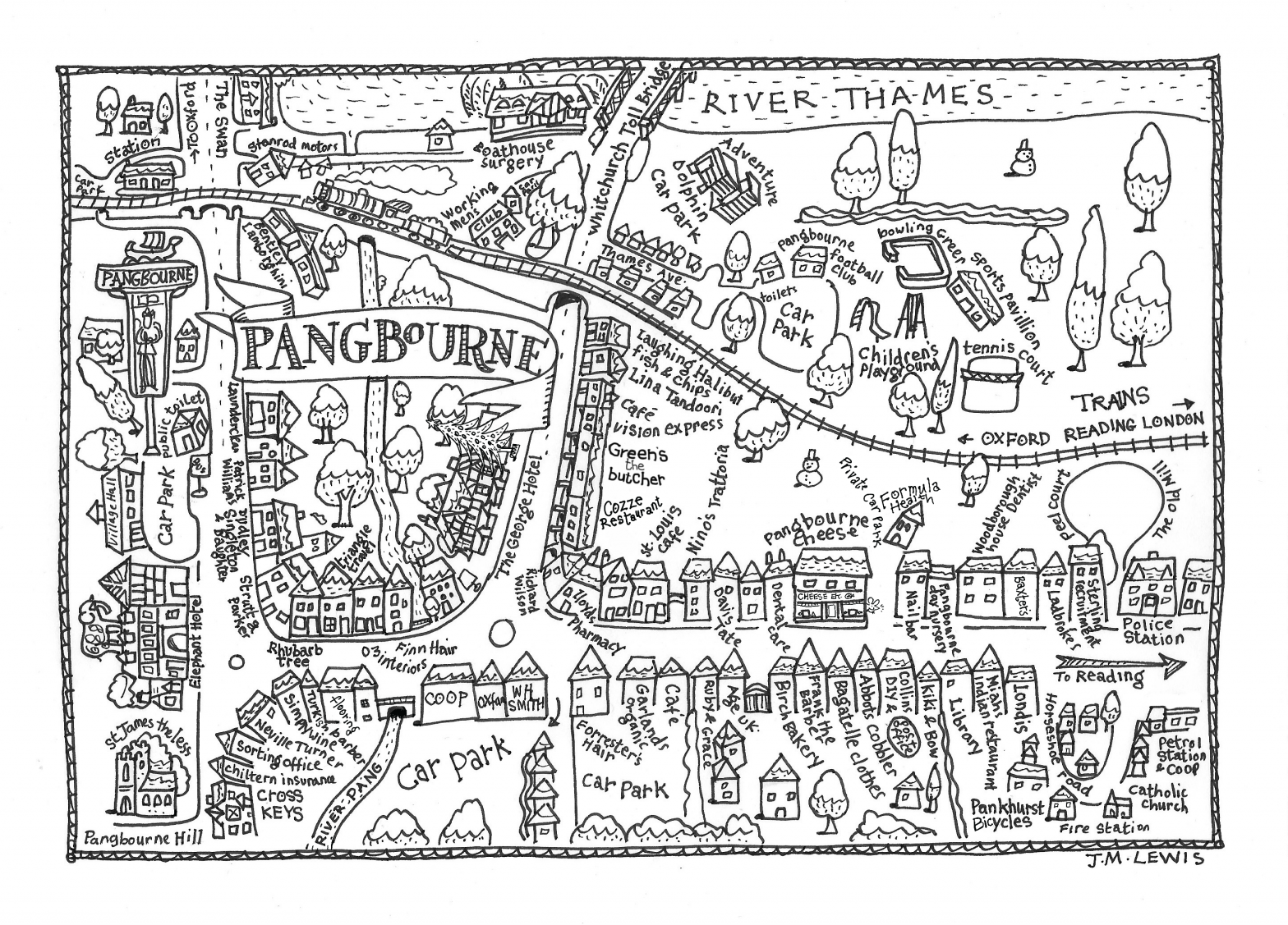 Christmas map of Pangbourne, Berkshire (Artist: Jan Lewis)